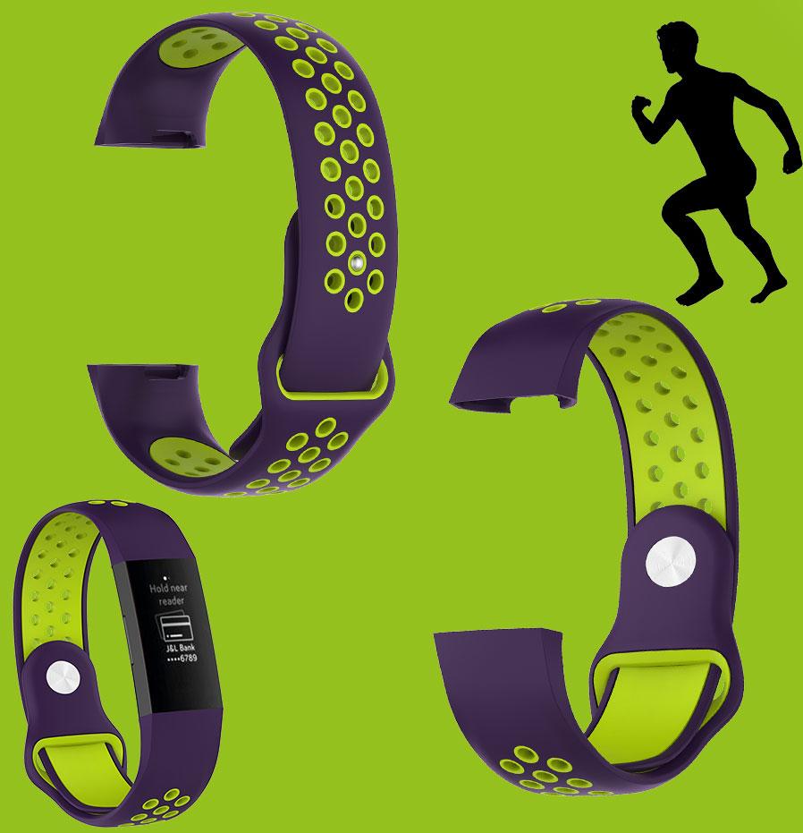 Für Fitbit Charge 3 Kunststoff Größe L Lila Uhr Silikon Armband für Männer