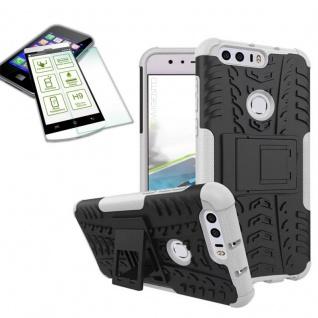 Hybrid Case Tasche Outdoor 2teilig Weiß für Huawei Honor 8 + Hartglas Cover
