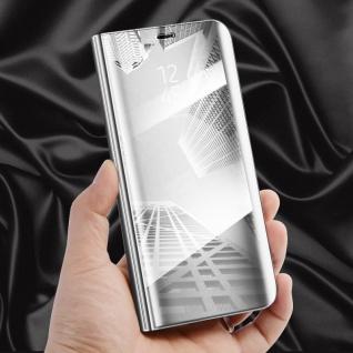 Für Huawei Y6 2018 Clear View Smart Cover Silber Tasche Wake Case UP Etui Schutz