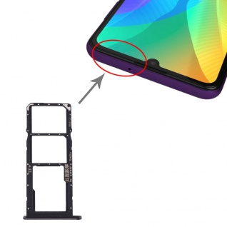 Für Huawei Y6P Dual Sim Card + Micro SD Card Tray Karten Halter Schwarz Neu