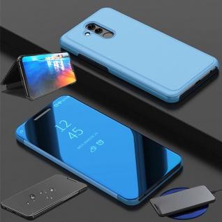 Für Huawei P Smart 2019 Clear View Smart Cover Blau Tasche Hülle Wake UP Etuis