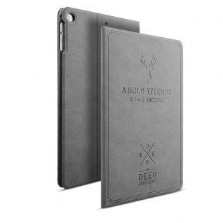 Design Tasche Backcase Smartcover Grau für Apple iPad Air 1 / Air 2 Hülle Case