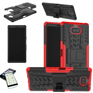 Für Sony Xperia 10 Plus Hybrid 2 teilig Rot Hülle + 0, 3 mm H9 Glas Tasche Etuis