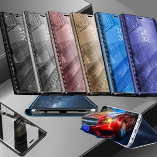 Für Samsung Galaxy M20 6.3 Clear View Smart Cover Gold Etui Tasche Hülle Wake UP