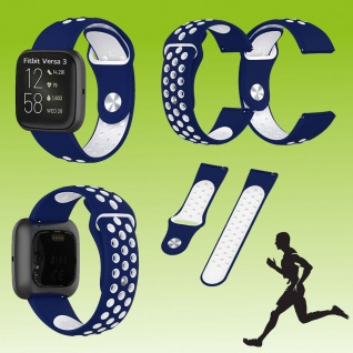 Für Fitbit Versa 3 / Sense Fitness Uhr Kunststoff Silikon Armband für Dunkel-Blau / Weiß