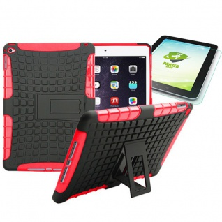 Hybrid Outdoor Schutzhülle Rot für iPad Air 2 Tasche + 0.4 H9 mm Panzerglas Neu