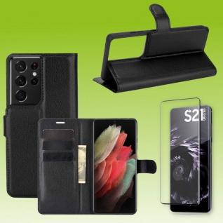 Für Samsung Galaxy S21 Ultra Handy Tasche Schwarz Hülle Etui + H9 4D Curved Glas