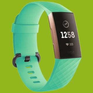 Für Fitbit Charge 3 Kunststoff Silikon Armband für Männer Größe L Teal-Grün Uhr
