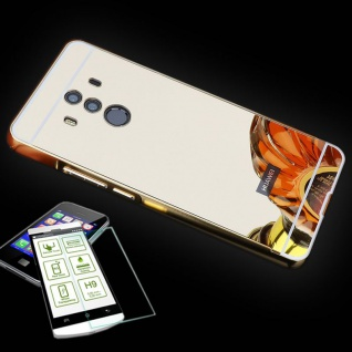 Alu Bumper 2 teilig Gold + 0, 3 H9 Hartglas für Huawei Mate 10 Pro Tasche Hülle