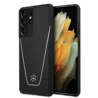Mercedes Samsung Galaxy S21 Ultra Dynamic Line Leder Case Schutzhülle Schwarz