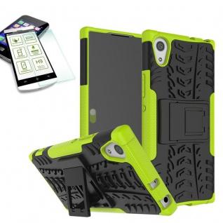 Hybrid Case 2 teilig Grün für Sony Xperia XA1 Hülle + 0, 3 H9 Hartglas Tasche