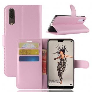 Tasche Wallet Premium Rosa für Huawei P20 Hülle Case Cover Schutz Etui Schale