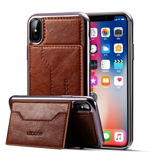 Edle Schutzhülle Cover Case für Apple iPhone X / XS 5.8 Hülle Kartenfach Braun