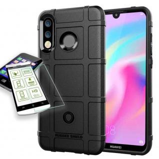 Für Huawei P30 Lite Tasche Shield TPU Silikon Hülle Schwarz + H9 Glas Case Neu