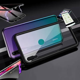 Für Huawei Y5 2019 Magnet Glas Tasche Schwarz / Transparent + 0, 26 H9 Glas Etui