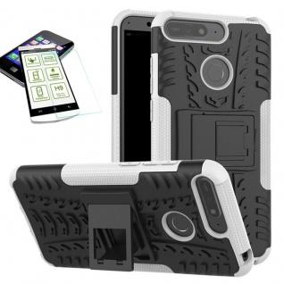 Für Huawei Y6 2018 Hybrid Case Tasche Outdoor 2teilig Weiß + H9 Glas Hülle Cover