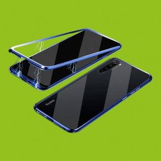 Beidseitiger 360 Grad Magnet Glas Bumper Tasche Blau für Xiaomi Redmi Note 8