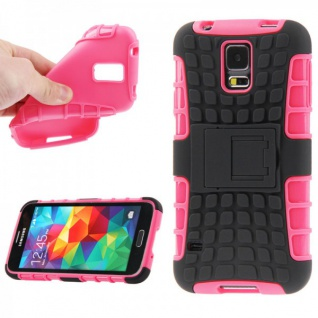 Hybrid Case 2 teilig Robot Pink Cover Hülle für Samsung Galaxy S5 Mini G800 F A