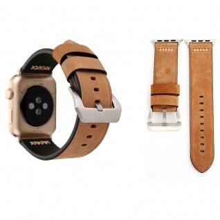 Echtleder Leder Armband Khaki für Apple Watch Serie 1 / 2 / 3 38 mm Zubehör Neu