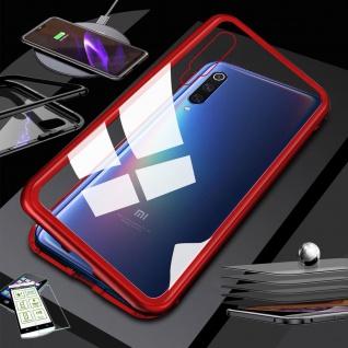 Für Xiaomi Redmi Note 8 Pro Magnet Tasche Hülle Rot / Transparent + H9 Glas Case