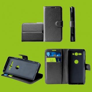 Für Motorola Moto One Vision Handy Tasche Schwarz Hülle Etuis Kunst-Leder Cover