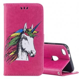 Tasche Wallet Einhorn Pink für Huawei P10 Lite Hülle Case Cover Etui Schutz Neu
