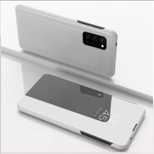 Für Samsung Galaxy S20 FE View Smart Silber Handy Tasche Cover Etuis Wake UP Neu