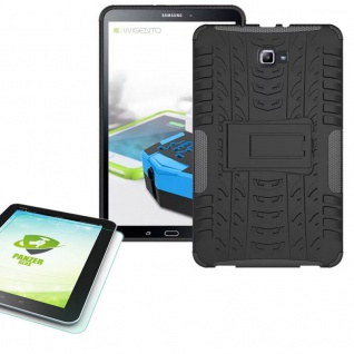 Hybrid Outdoor Tasche Schwarz für Samsung Galaxy Tab A 10.1 T580 0.4 Hartglas