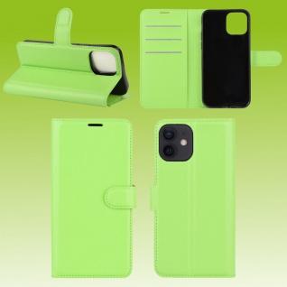 Für Apple iPhone 12 Mini Handy Tasche Wallet Grün Etuis Kunst-Leder Hülle Case
