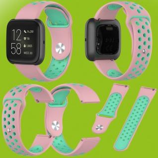 Für Fitbit Versa 2 Kunststoff Silikon Armband für Frauen Größe S Pink-Türkis Neu