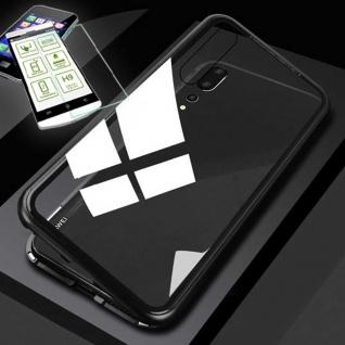Für Xiaomi Redmi Note 7 7 Pro Magnet Tasche Etuis Schwarz Transparent + H9 Glas