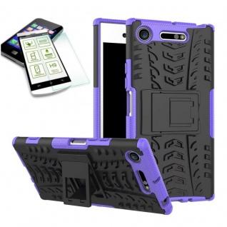 Hybrid Case 2 teilig Lila für Sony Xperia XZ1 Compact + 0, 3 H9 Hartglas Tasche