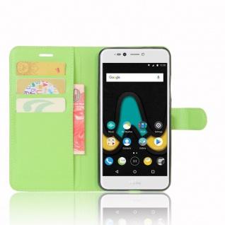 Tasche Wallet Premium Grün für Wiko Upulse Lite Hülle Case Cover Etui Schutz Neu - Vorschau 5