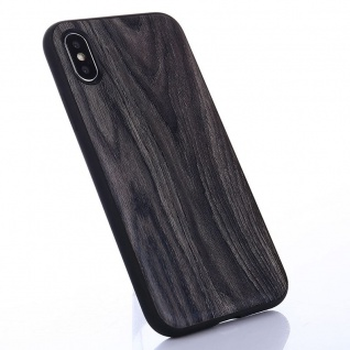 Hybridcase Holz-Optik Dunkel Hülle für Apple iPhone X / 10 Etui Schutz Tasche