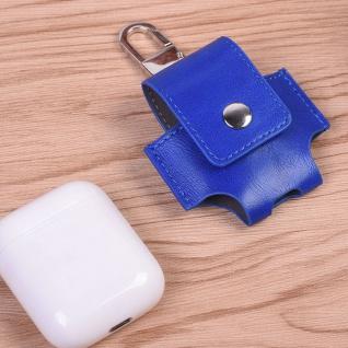 Kunstleder Tasche für Apple AirPods Blau Schutz Etui Tasche Halterung Zubehör