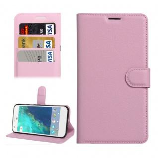 Bookcover Tasche Wallet Design für Google Pixel 5.0 Schutzhülle Hülle Etui Rosa