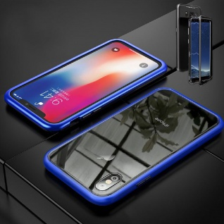 Für Apple iPhone X 10 XS 5.8 Magnet / Metall Glas Blau / Transparent Tasche Case