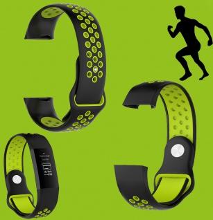 Für Fitbit Charge 3 Kunststoff Silikon Armband für Männer Größe L Schwarz-Grün