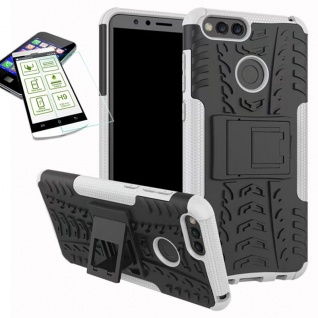 Hybrid Case Tasche Outdoor 2teilig Weiß für Huawei Honor 7X Hülle Hartglas Neu