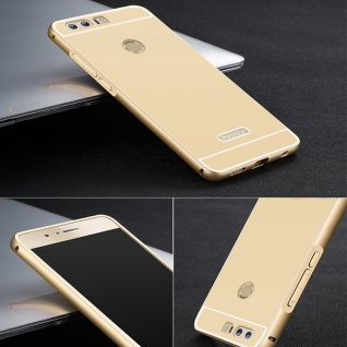 Alu Bumper 2 teilig mit Abdeckung Gold für Huawei Honor 8 Tasche Hülle Case Neu