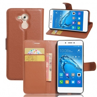 Tasche Wallet Premium Braun für Huawei Honor 6C Hülle Case Cover Etui Schutz Neu