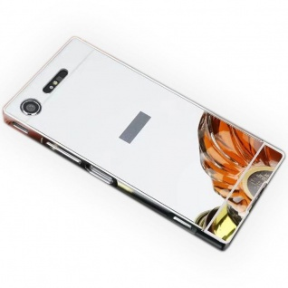 Alu Bumper 2teilig Abdeckung Silber für Sony Xperia XZ1 Compact Tasche Case Neu