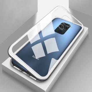Beidseitige Magnet Glas Bumper Handy Tasche Silber für Xiaomi Redmi Note 9 Case