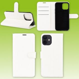 Für Apple iPhone 12 Mini Handy Tasche Wallet Weiß Etuis Kunst-Leder Hülle Case