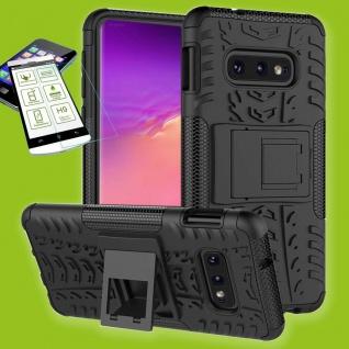 Für Samsung Galaxy S10e G970F Hybrid Tasche Outdoor 2teilig Schwarz + H9 Glas