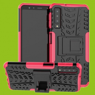 Für Samsung Galaxy A7 A750F Hybrid Case 2teilig Outdoor Pink Tasche Hülle Cover