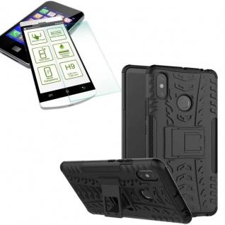 Für Xiaomi Redmi Note 6 Pro Hybrid Tasche Outdoor 2teilig Schwarz + H9 Glas Neu