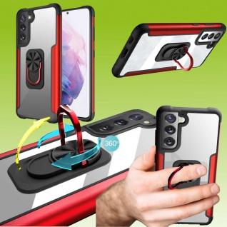 Für Samsung Galaxy S21 FE Rot Schock Hybrid PC +TPU + Metal Tasche Hülle Etuis