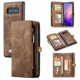 Handyt Tasche für Samsung Galaxy S10 Plus G975F CaseMe Geldbeutel + Etui Braun