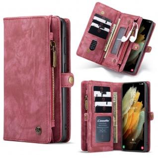 Handy Tasche für Samsung Galaxy S21 CaseMe Geldbeutel + Etui Hülle Rot